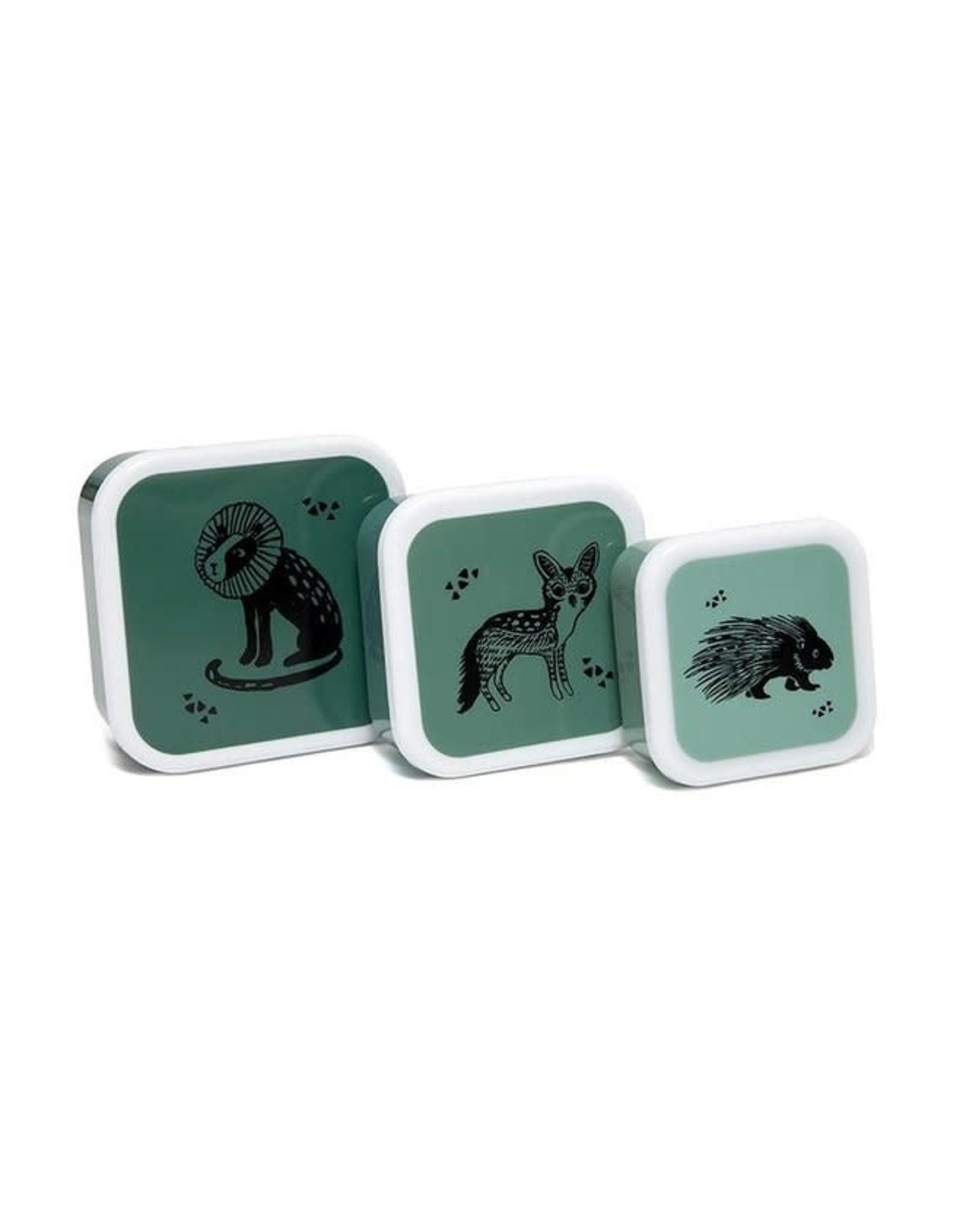 Petit Monkey lunchboxset black animals salie (3st)