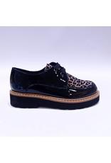 Clarys veterschoen zwart/leopard
