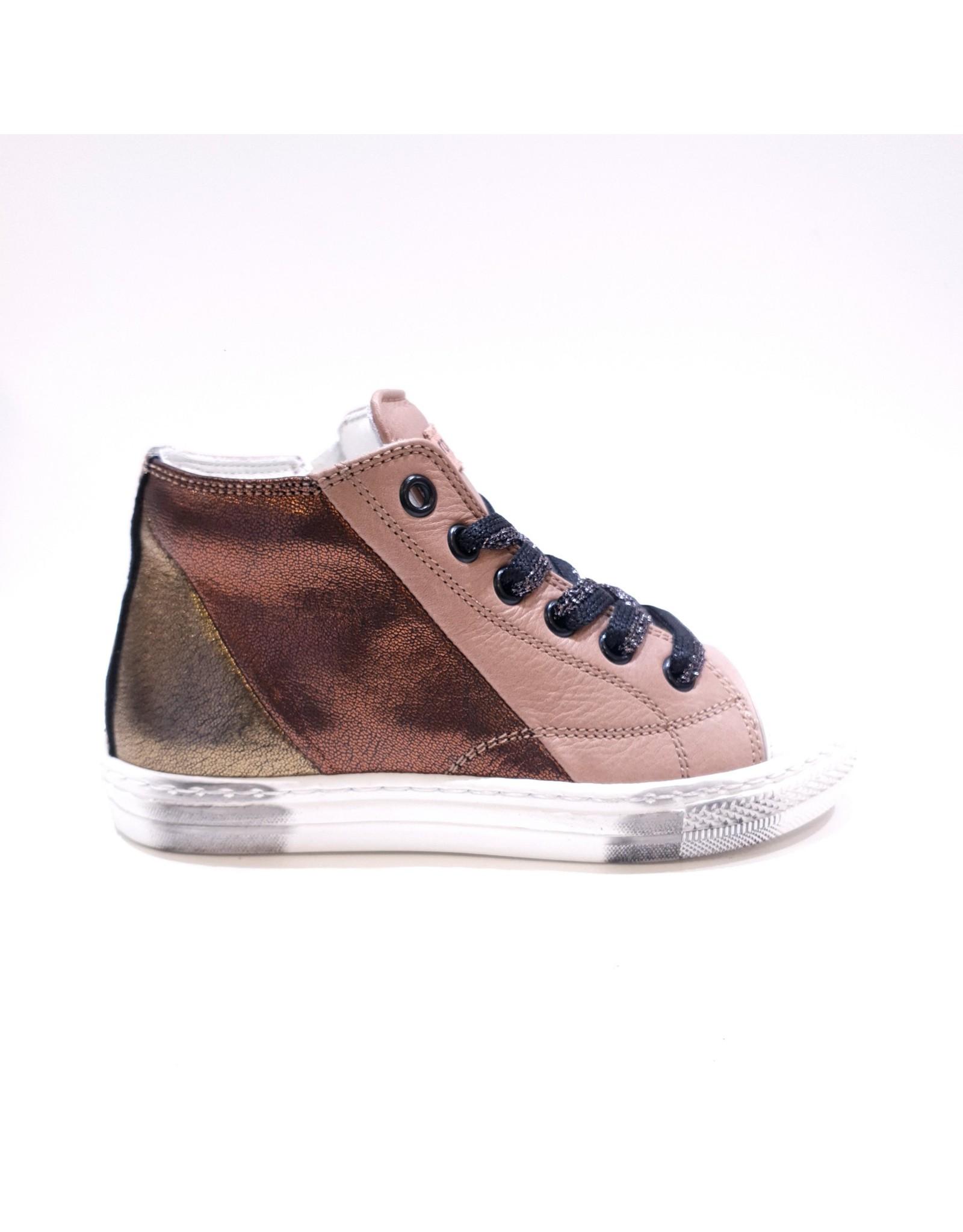 Rondinella sneaker hoog taupe/metallic