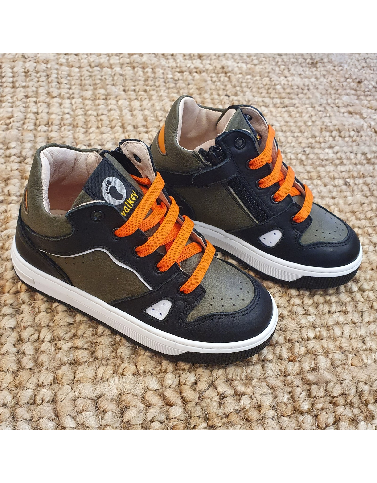 Walkey sneaker kaki/zwart/oranje