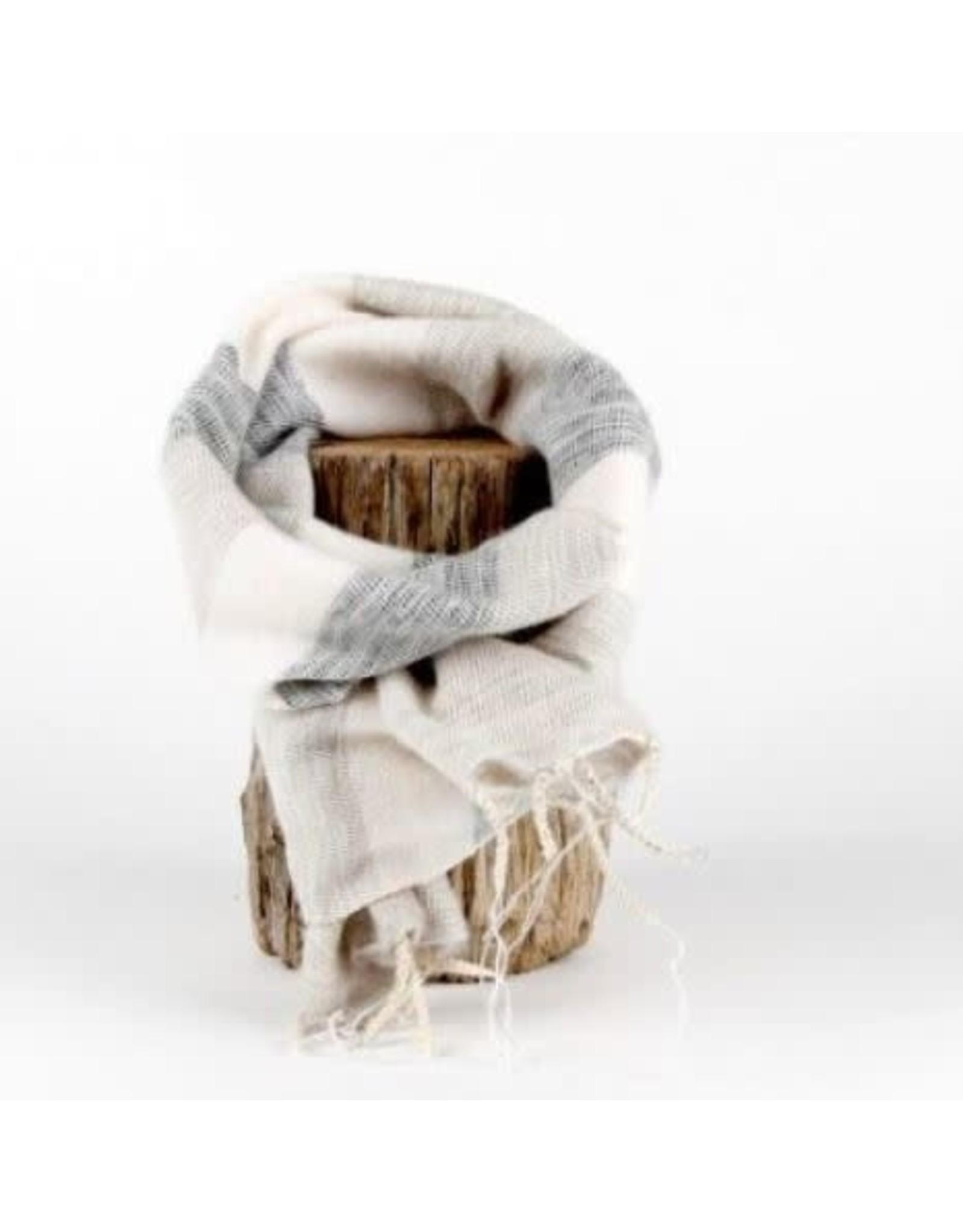 Sjaal met verhaal kids sjaal crème grijs