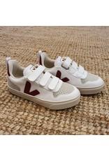 Veja sneaker laag V-10 velcro wit/marsala