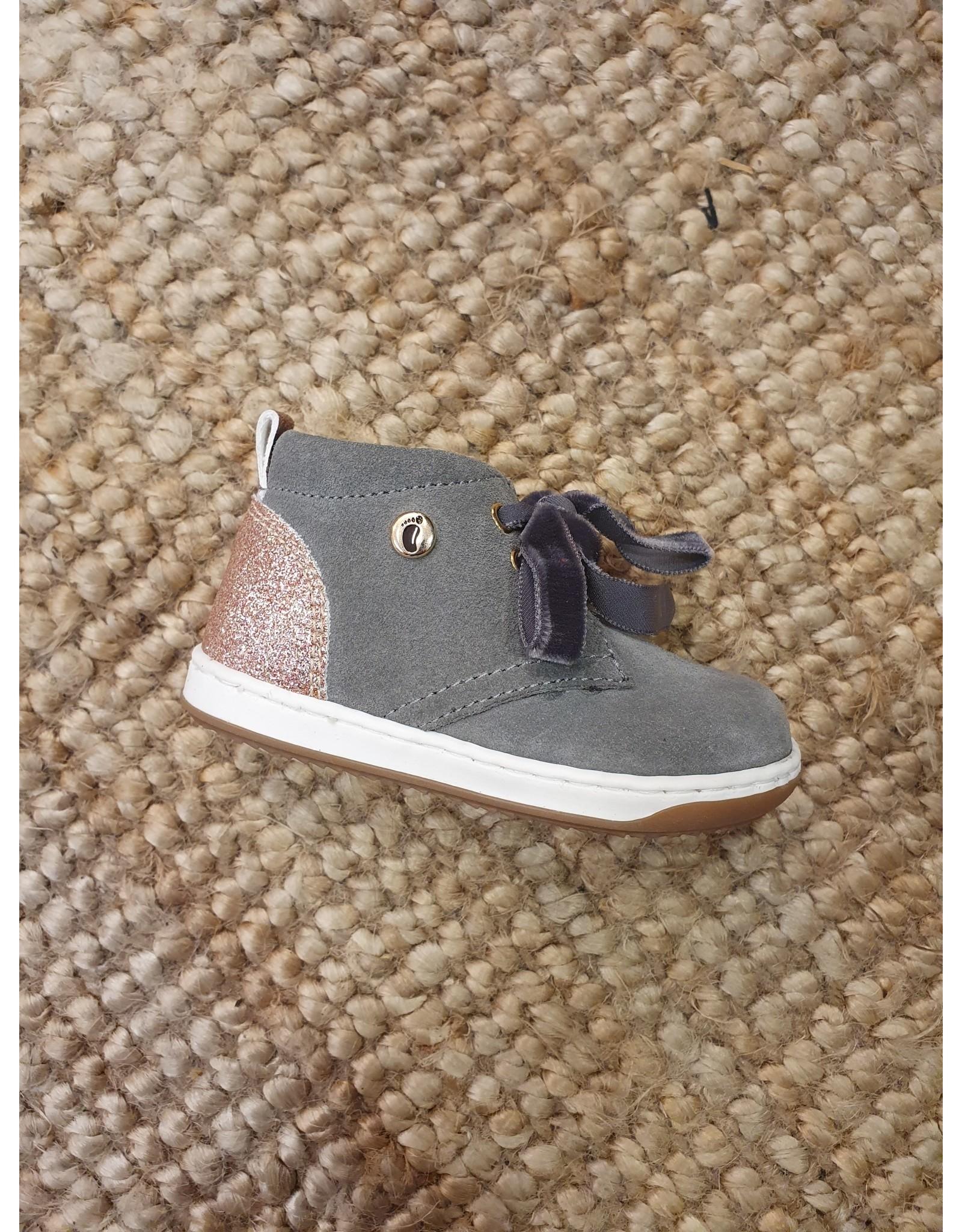 Walkey sneaker grijs/roze glitter