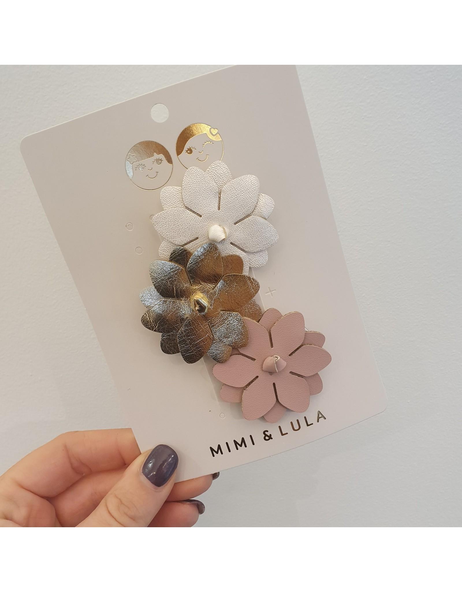 Mimi & Lula clips bloem metalic (zilver, goud, roze)
