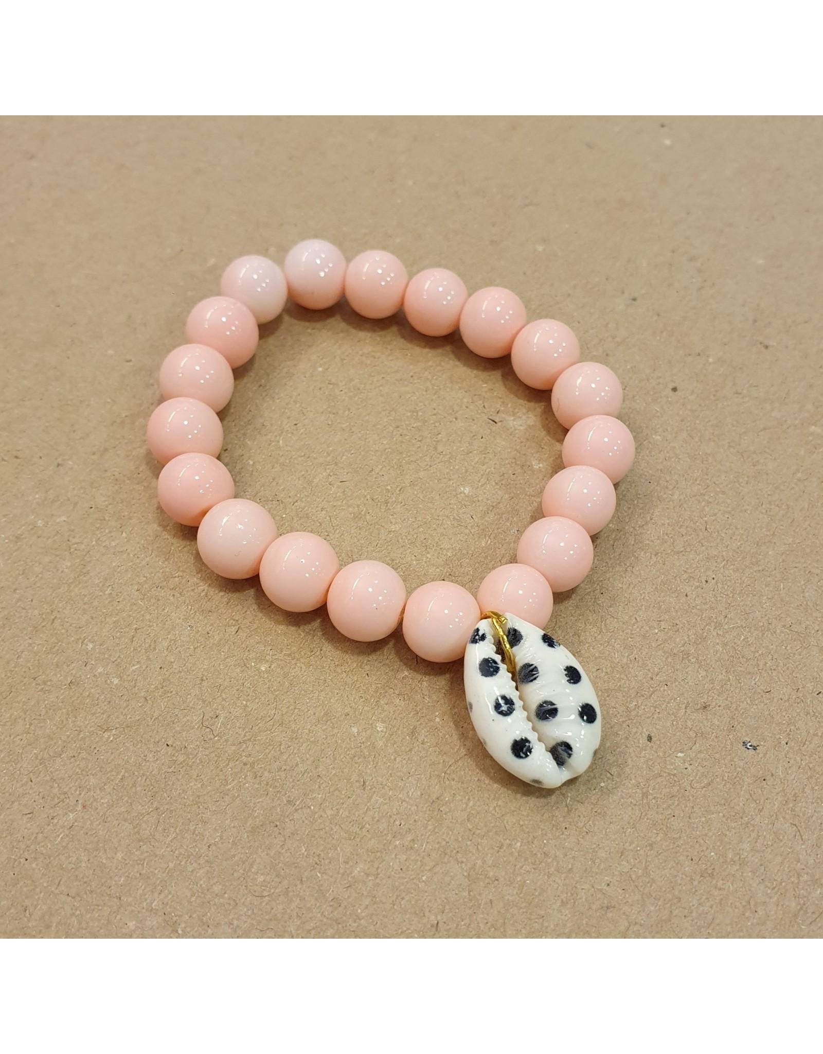 Bizou Milou kids armbandje roze/schelp