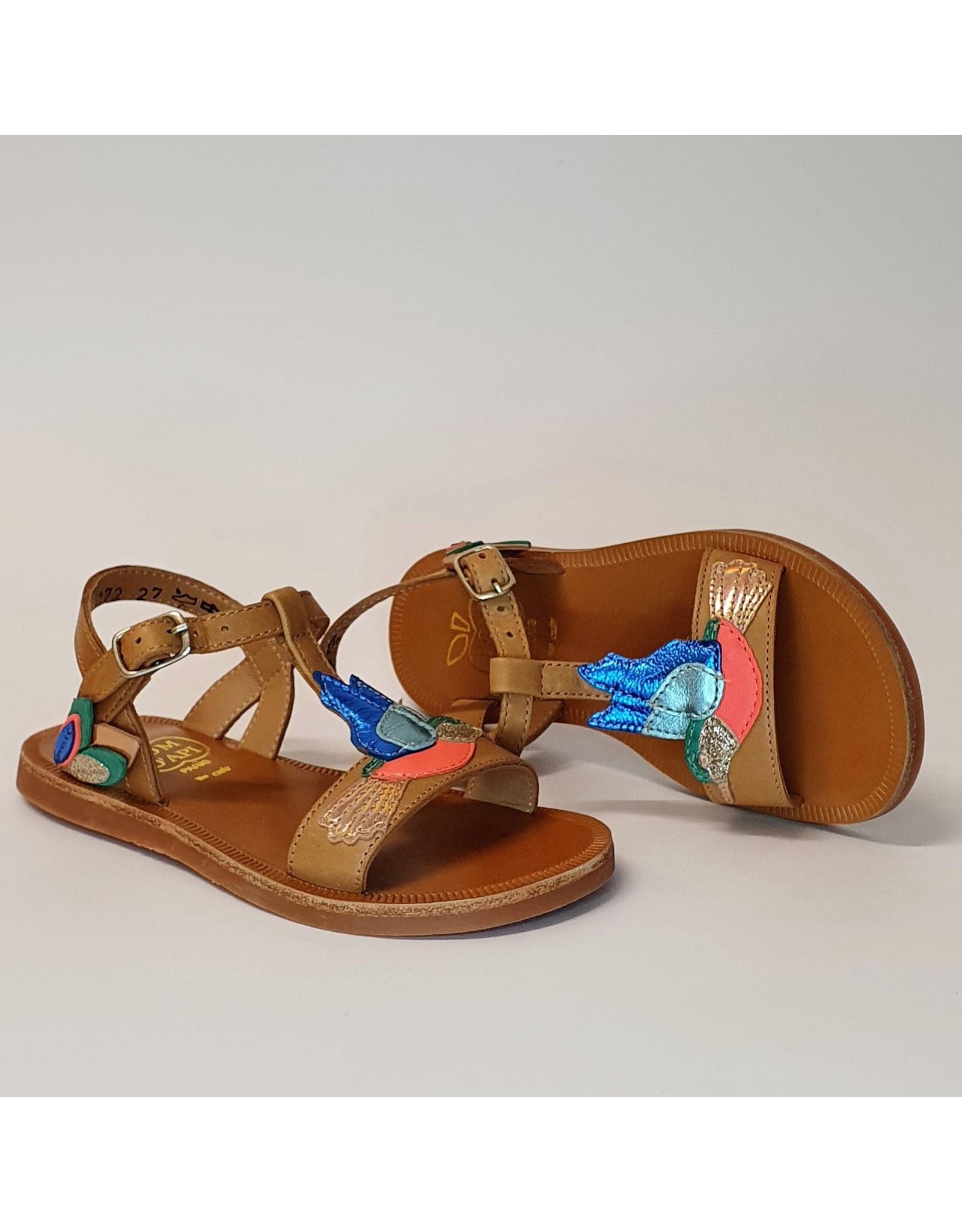 Pom d'Api sandaal plagette colibri camel