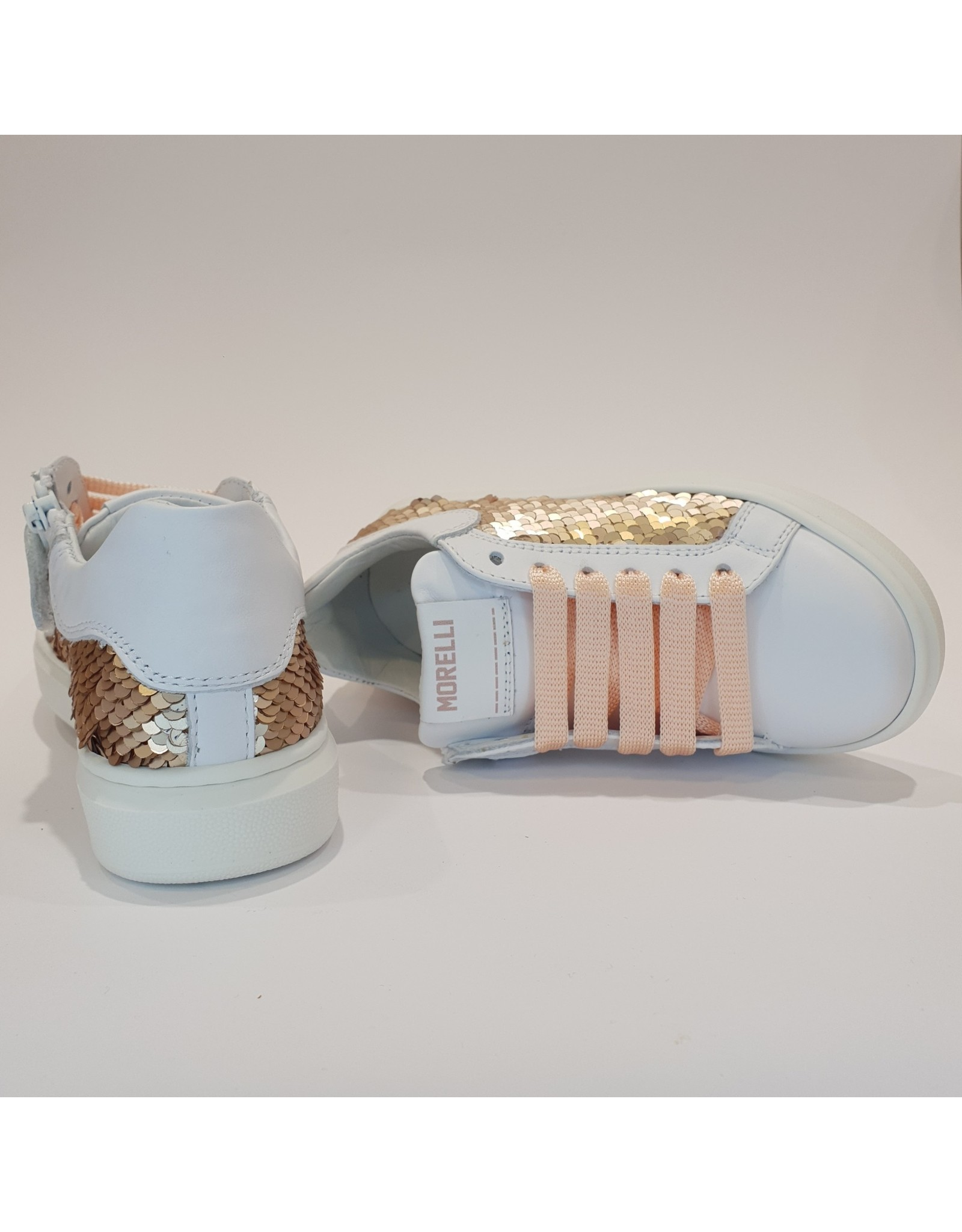 Morelli sneaker wit rosé pailletten