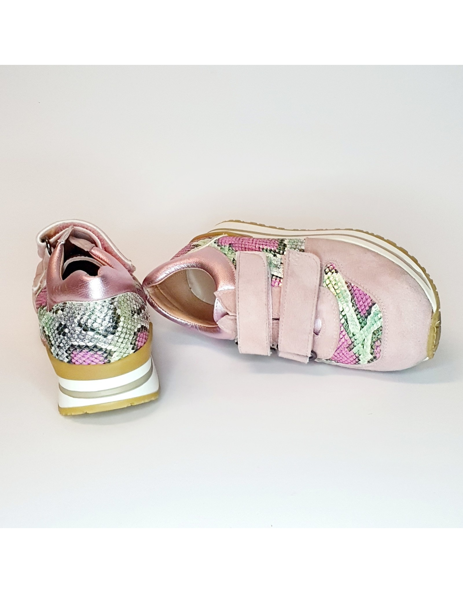 Clarys sneaker velcro roze/snake