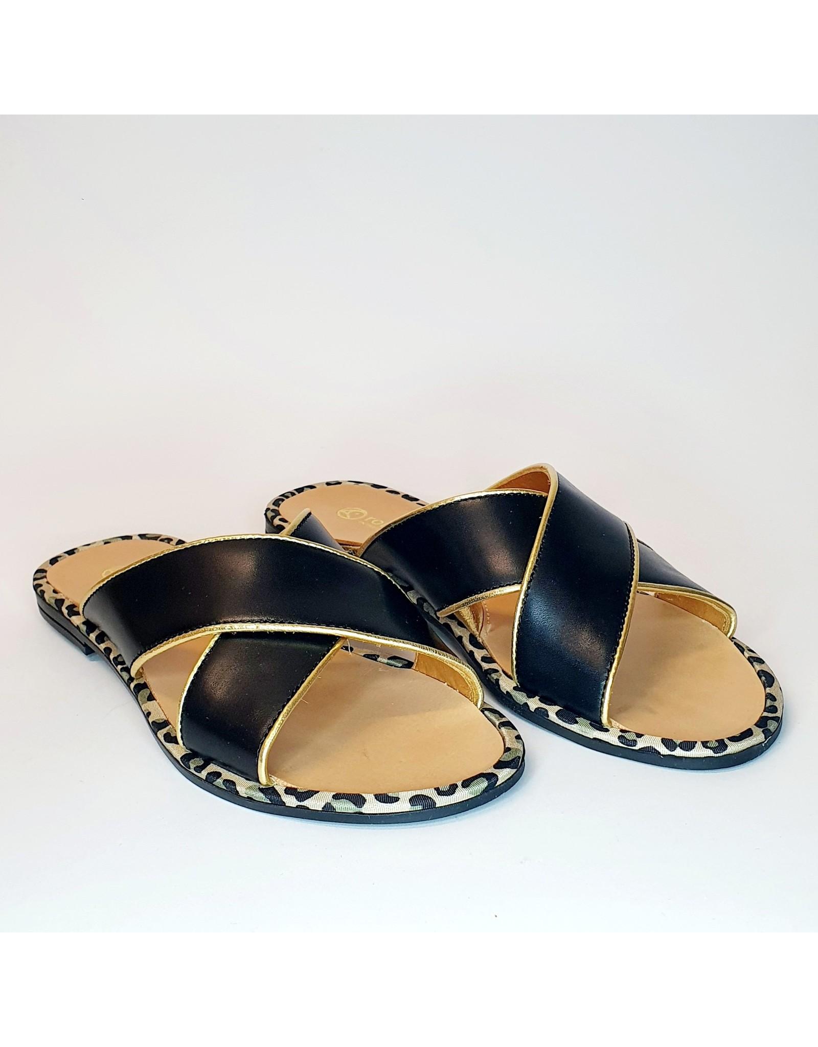 Rondinella slipper zwart goud