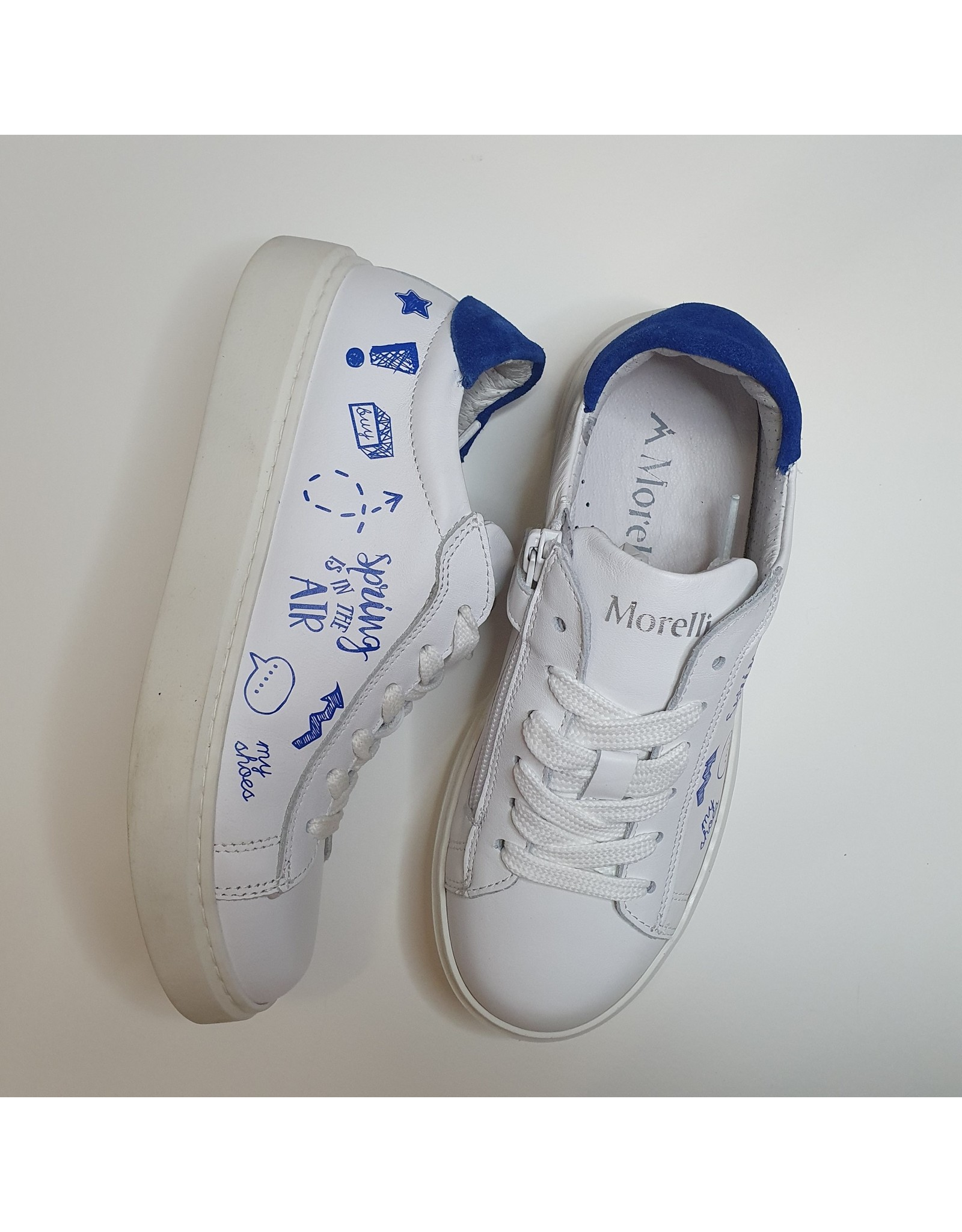 Andrea Morelli sneaker wit/ blauwe tekst