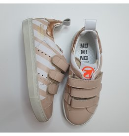 Momino sneaker white and nude stripes