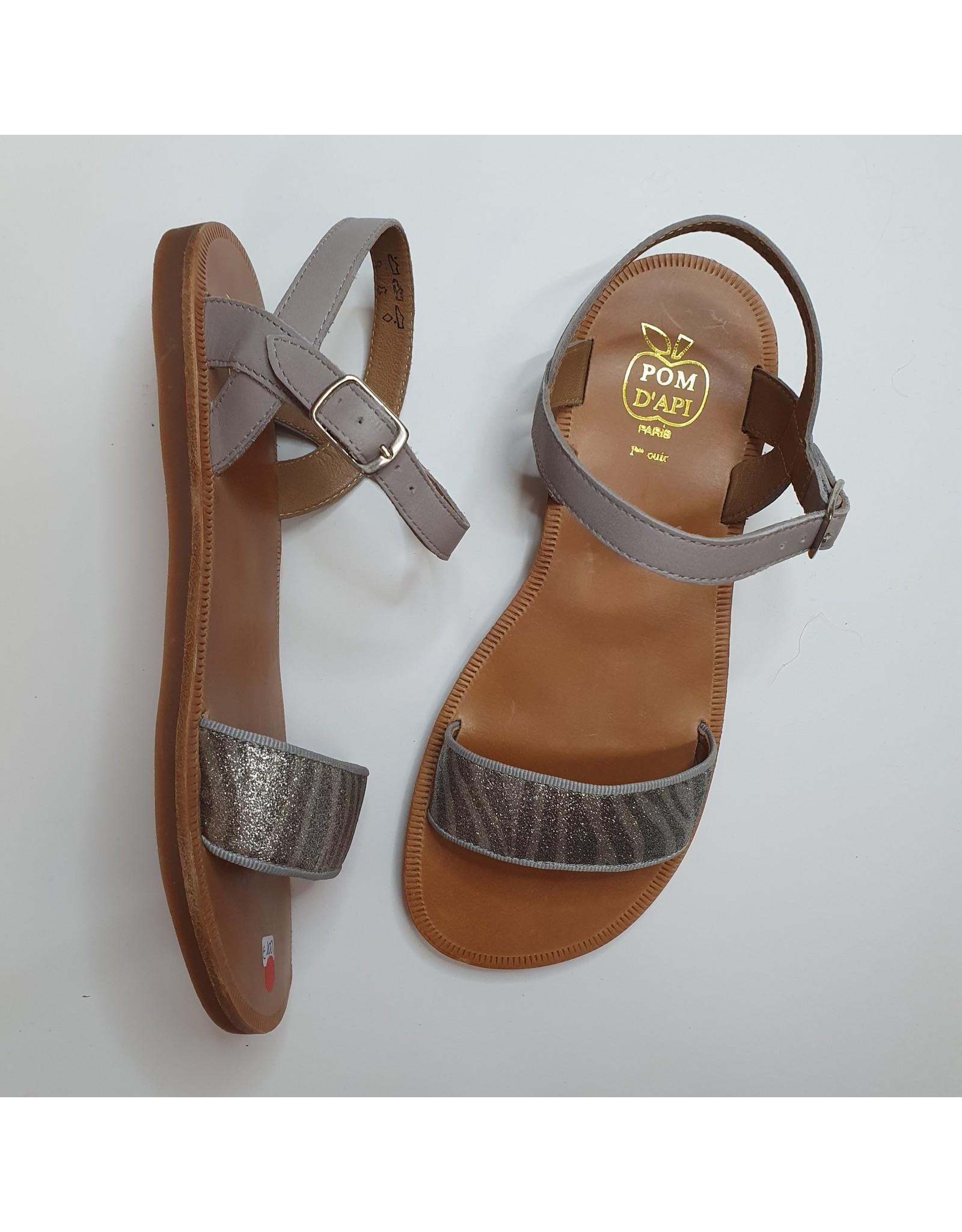 Pom d'Api sandaal grijs glitter