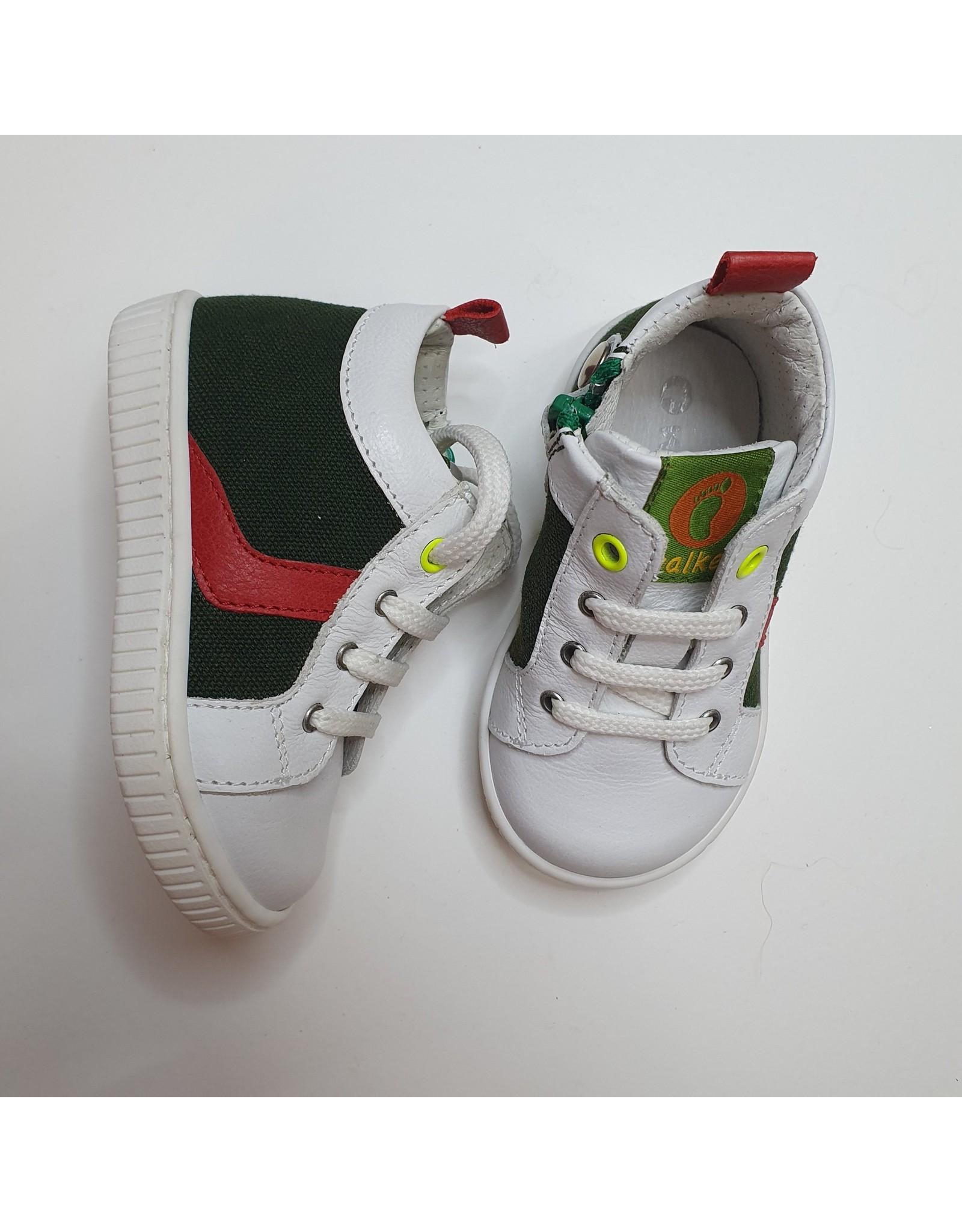 Walkey sneaker white, green, red stripe