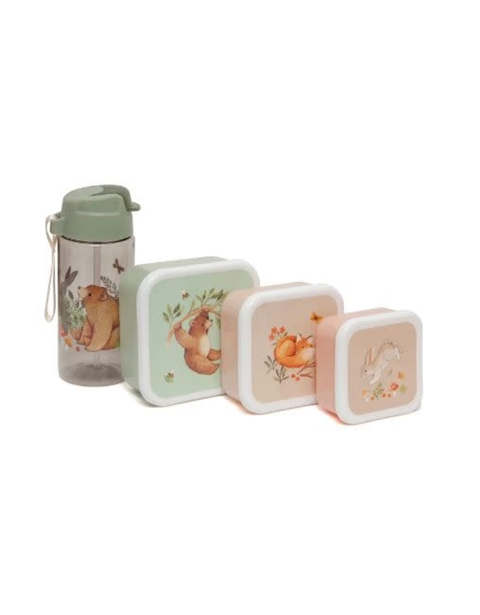 Petit Monkey lunchbox set bear and his friends  (3st)