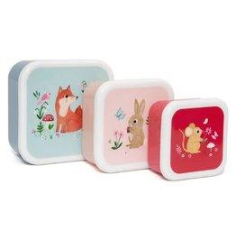 Petit Monkey lunchbox set woodland stone blue (3st)