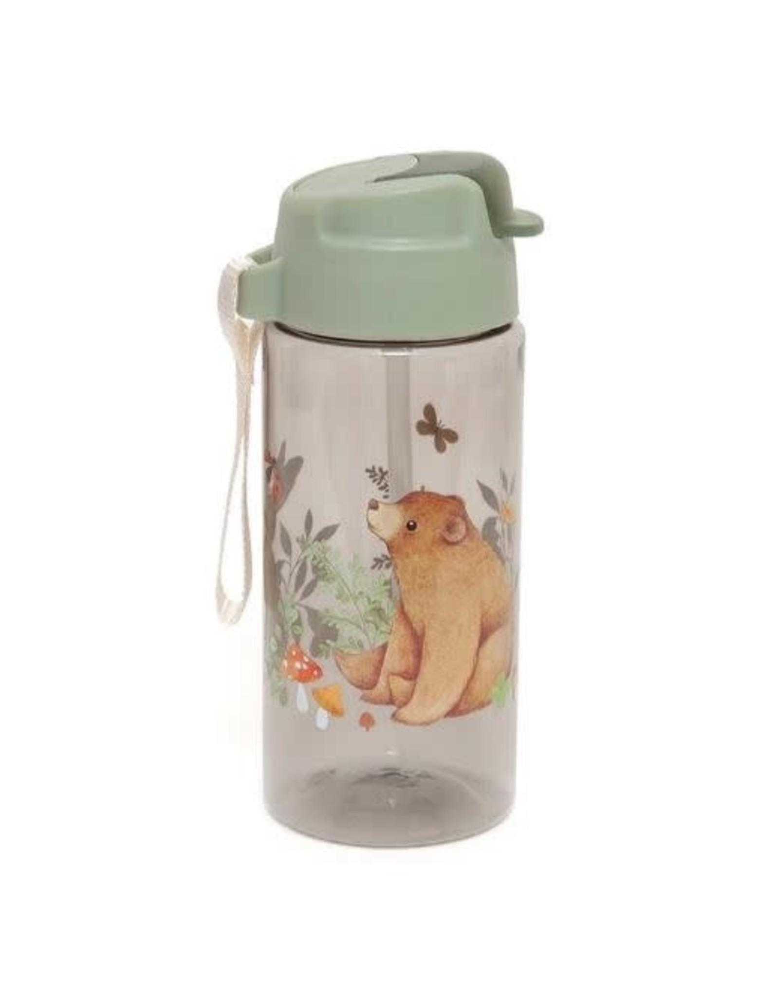 Petit Monkey drinking bottle bear and friends sage green