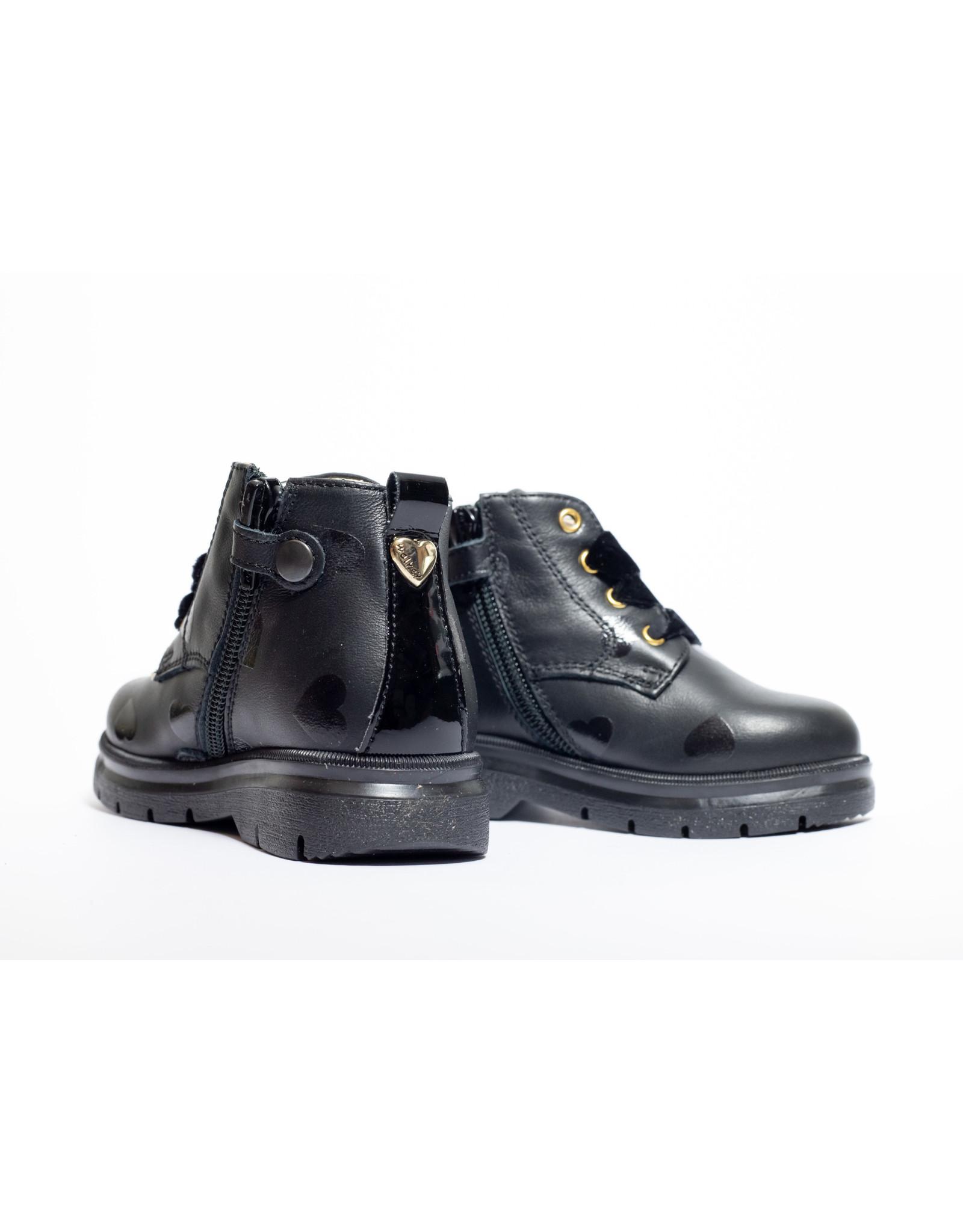 Walkey boots zwart hartje fluwelen veter
