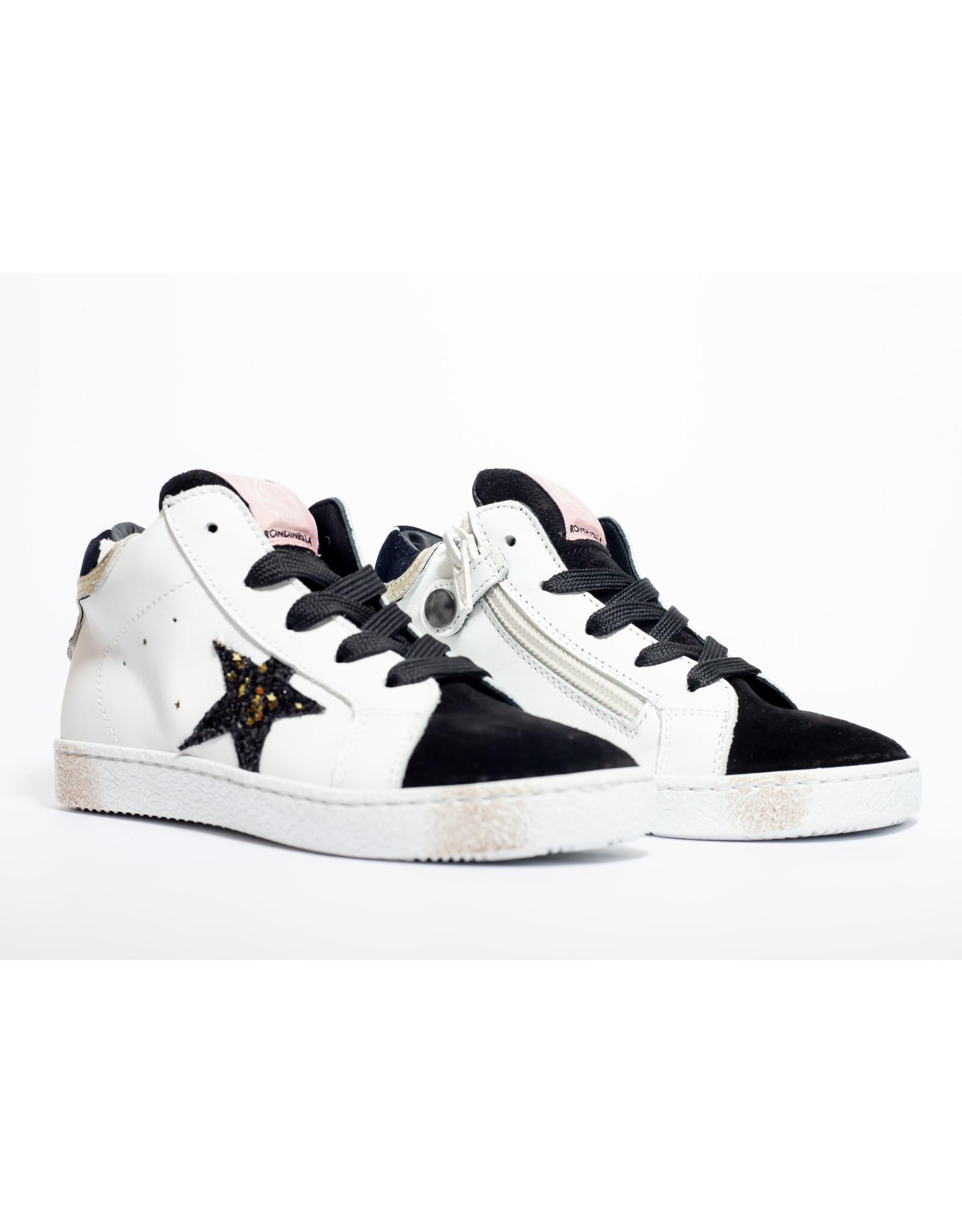 Rondinella hoge sneaker wit zwart  ster