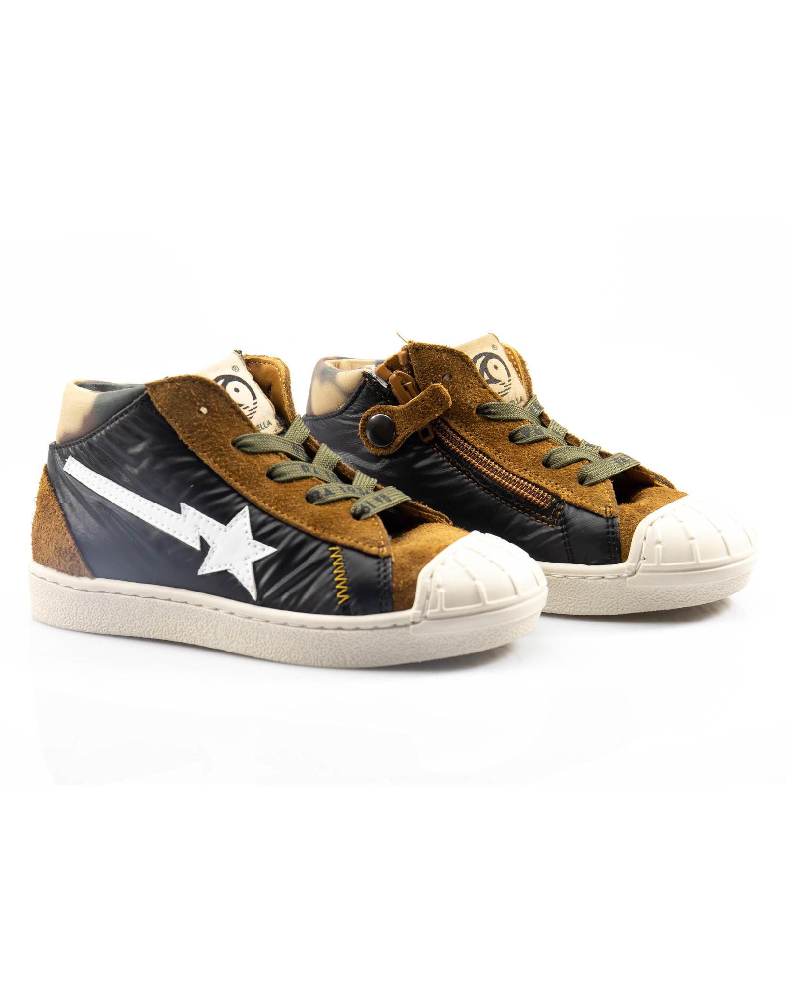 Rondinella hoge sneaker nubuck cognac/zwart/witte ster