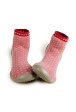 Collégien pantoffels roze bolletjes