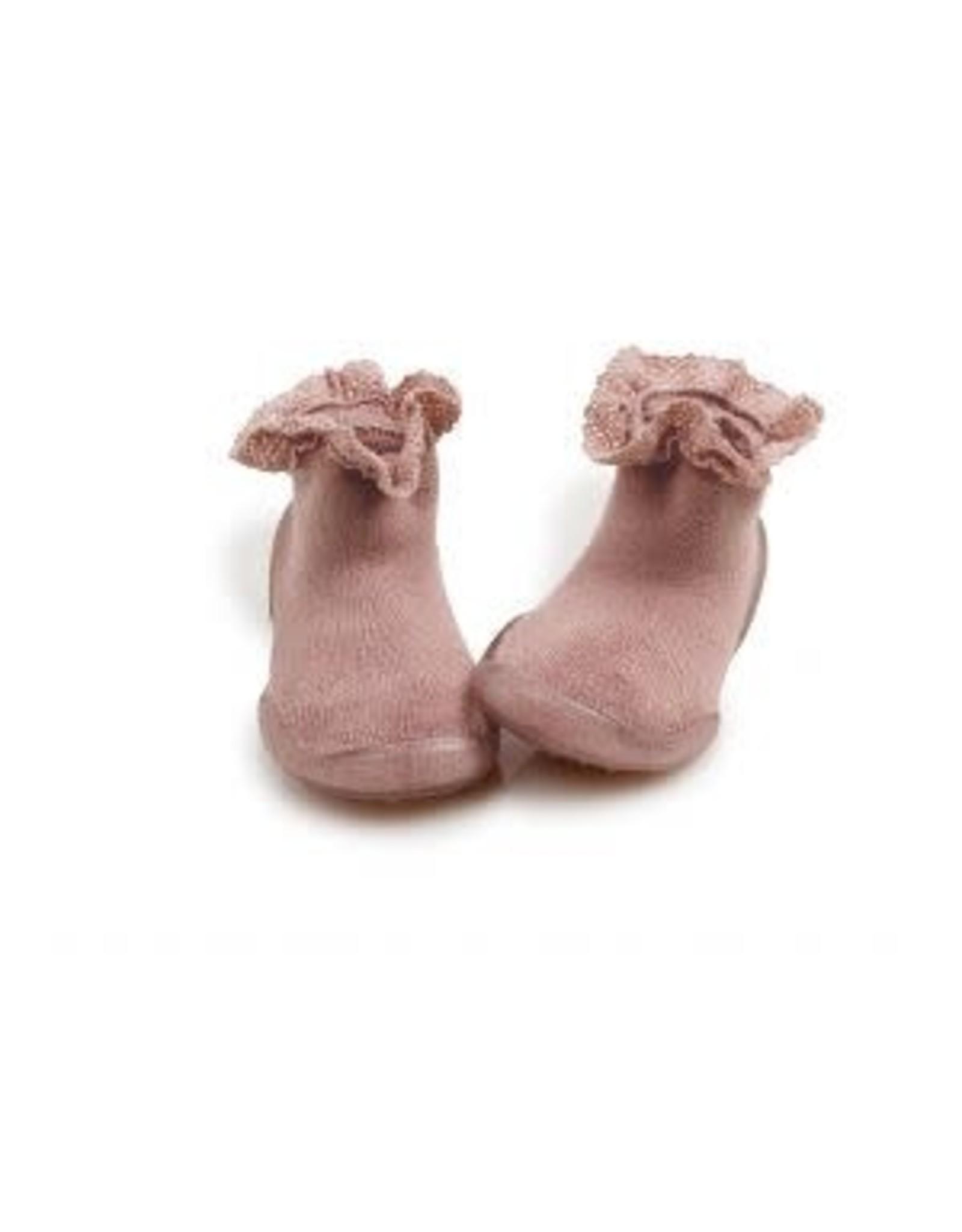 Collégien pantoffels roze kant