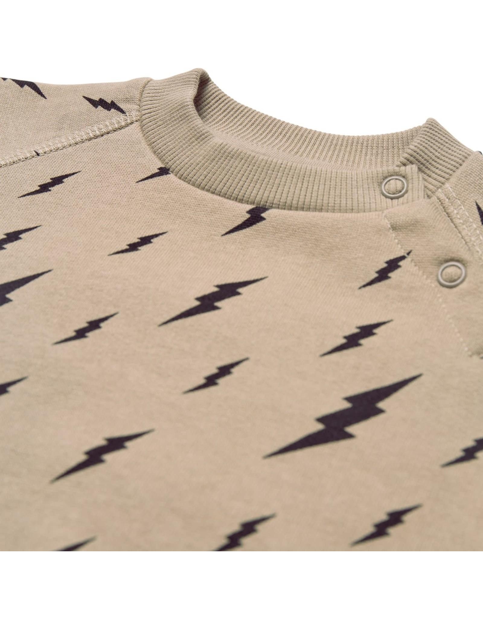 Petit by Sofie Schnoor sweater olijfgroen, zwarte bliksem