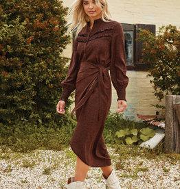 Midi skirt - met stipjes, roest en zwart