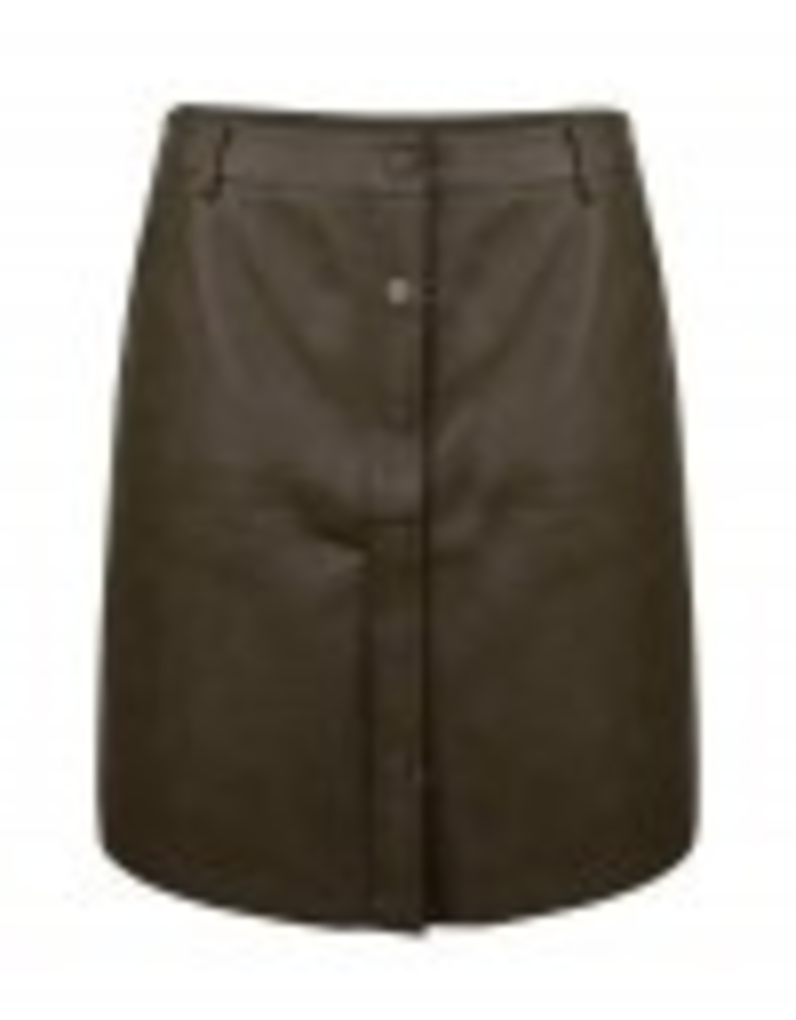 Mini skirt, faux leather, army kleur! Super stoer!