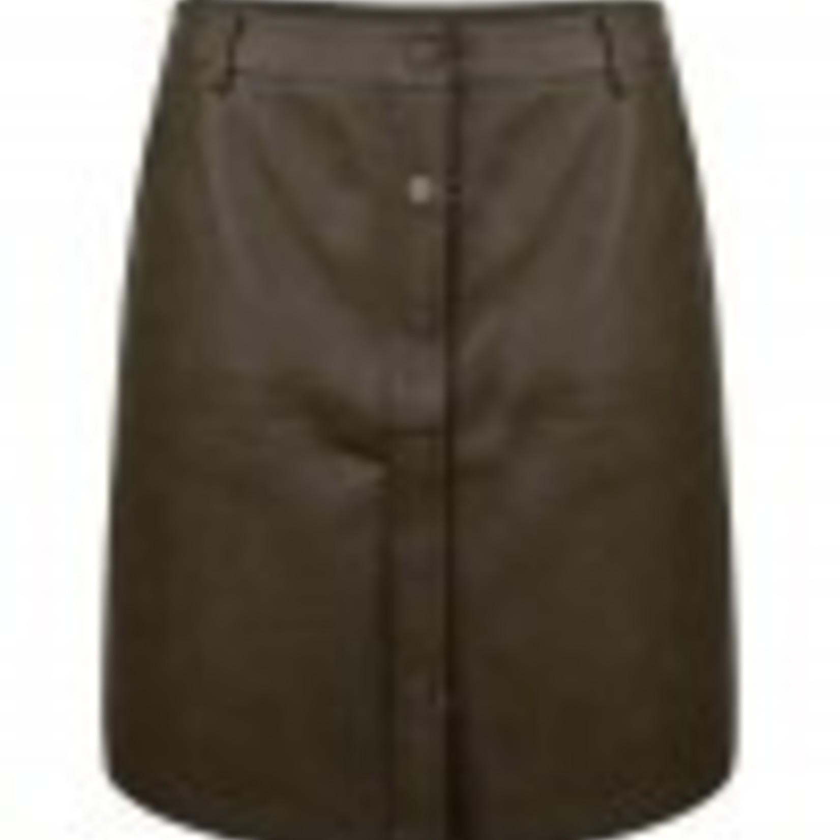 Mini skirt, faux leather, army kleur! Super stoer!