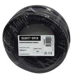 ELECTROFIX huishoudsnoer 2 x 0,75 mm zwart 20 m