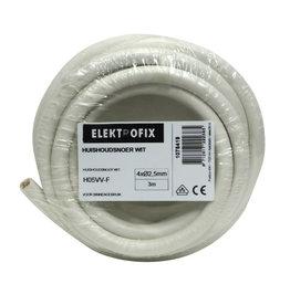 ELECTROFIX huishoudsnoer 4 x 2,5 mm wit 3 m