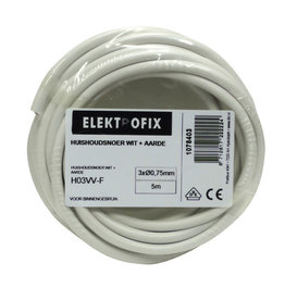 ELECTROFIX Elektrofix huishoudsnoer 3 x 0,75 mm wit 5 m