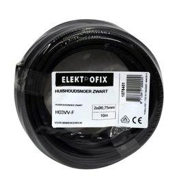 ELECTROFIX Elektrofix huishoudsnoer 2 x 0,75 mm zwart 10m