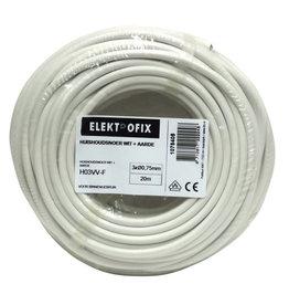 ELECTROFIX Elektrofix huishoudsnoer 3 x 0,75 mm wit 20 m