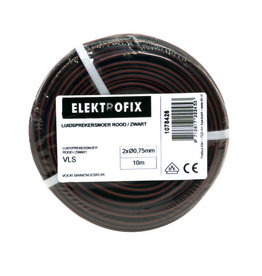 ELECTROFIX speakersnoer 2 x 0,75 mm rood/zwart 10 m