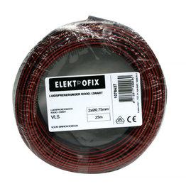 ELECTROFIX speakersnoer 2 x 0,75 mm rood/zwart 25 m