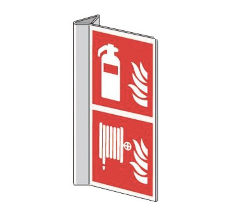 Pictogram brandblusser / brandslanghaspel haaks