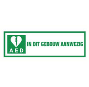 Pikt-o-Norm AED in dit gebouw aanwezig spiegelbeeld sticker