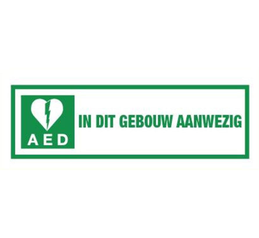 AED in dit gebouw aanwezig spiegelbeeld sticker
