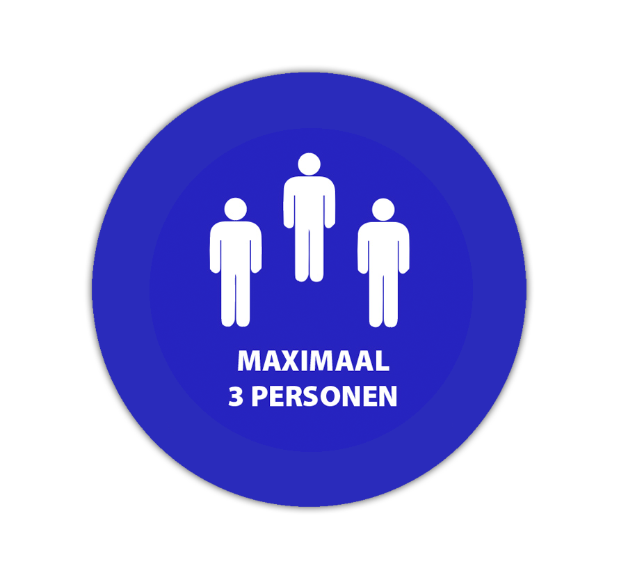 Maximaal 3 personen sticker Ø20 cm