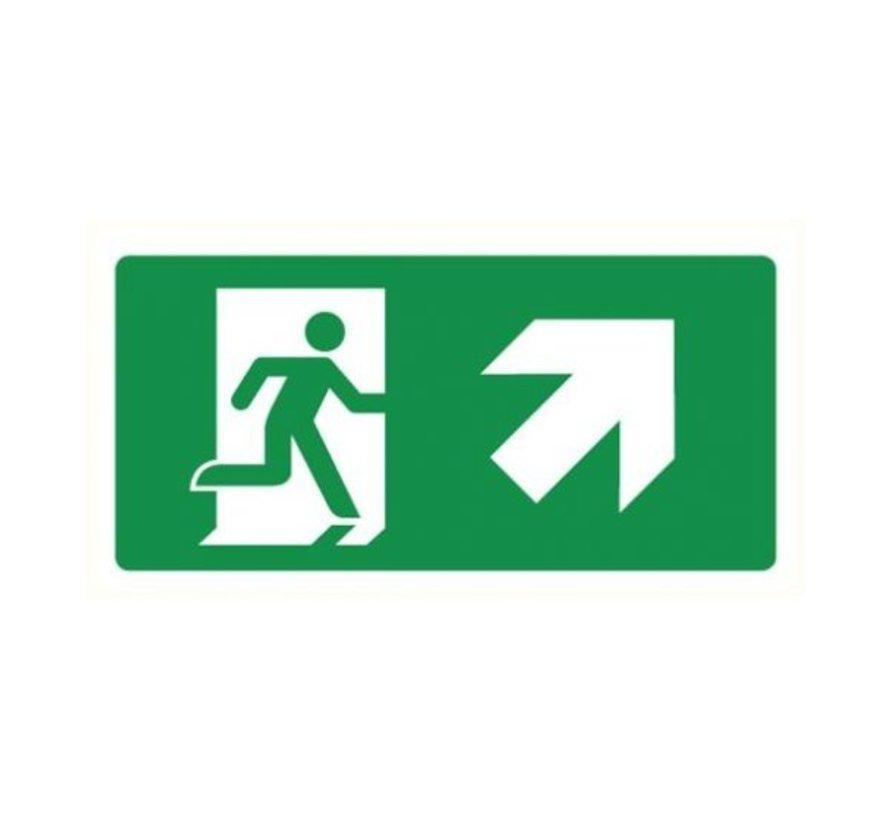 Nooduitgang rechts omhoog sticker