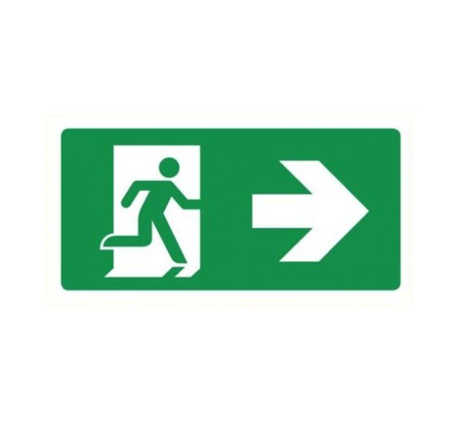 Nooduitgang rechts sticker