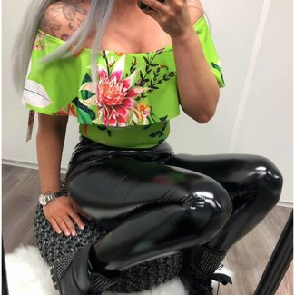 FLOWER GREEN OFF SHOULDER BODY