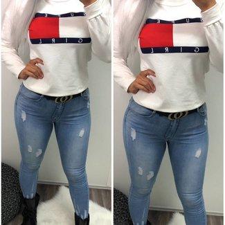 Super Girl Sweater White