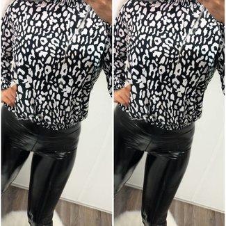 Leopard Blouse Black/White