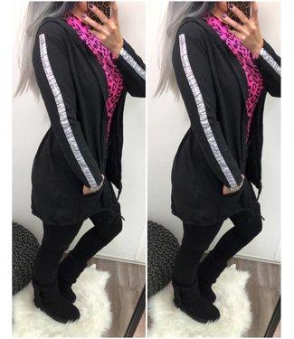 Oversized Vest Stripe Black - ONESIZE