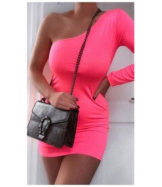 One Sleeve Neon Fuchsia Pink