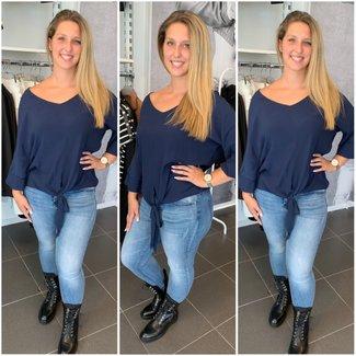 knoop blouse dark blue - ONESIZE