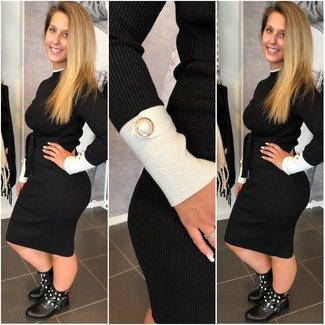 Classy Stretch Dress Black White