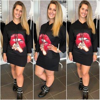 Sweater Dress Lips Black - ONESIZE